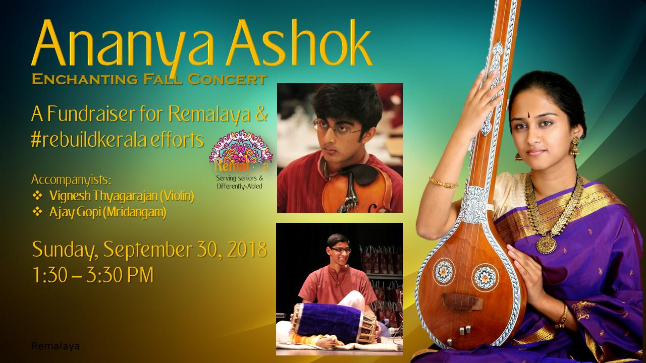 Ananya Ashok concert on Sep. 30 at 1:30 PM